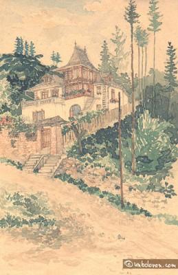 O casa din Sinaia… pictata in 1944 – 1945, acuarela